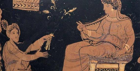 Demeter (left) handing ears of wheat to Metanire, the queen of Eleusis (Public Domain)