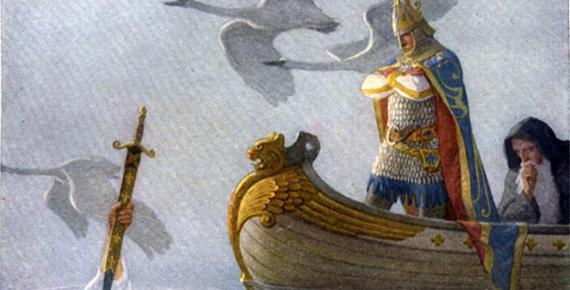 The Fisher King is an immortal king in Arthurian legend. Painting of King Arthur in boat, being presented with sword Excalibur.