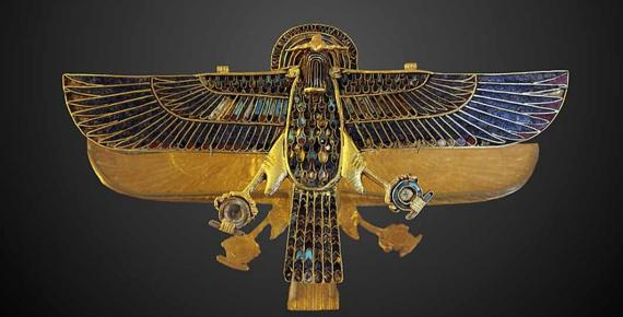 Ram-headed falcon amulet,	gold, lapis lazuli, turquoise and carnelian. (1254 BC) Department of Egyptian Antiquities of the Louvre (Rama/ CC BY-SA 3.0)