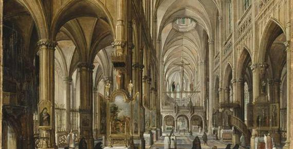 Interior of a Gothic Cathedral by Paul Vredeman de Vries (1612) Los Angeles County Museum of Art (Public Domain)