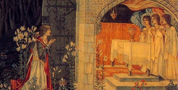 The Attainment or The Achievement of the Grail, version woven 1895-96, now in the Birmingham Museum & Art Gallery (Public Domain)