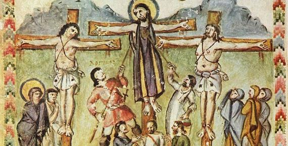 Crucifixion miniature, Rabula Gospels, with the legend