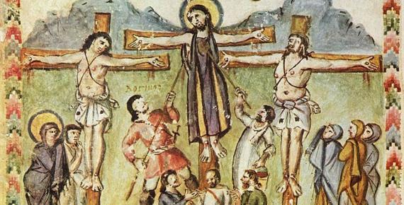 Crucifixion miniature, Rabula Gospels, with the legend