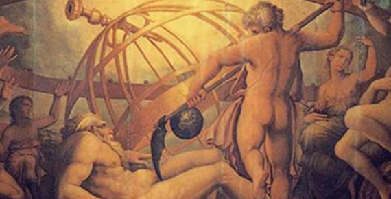 The Mutilation of Uranus by Saturn: fresco by Giorgio Vasari and Cristofano Gherardi. (1560) Sala di Cosimo I, Palazzo Vecchio (Public Domain)
