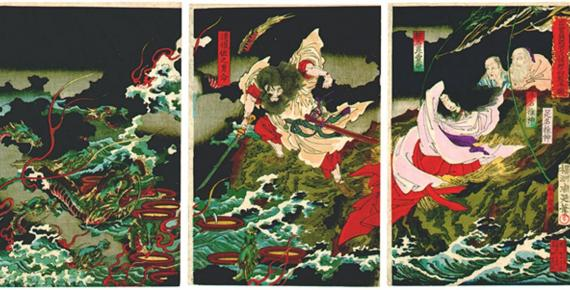 Susanoo slaying the Yamata no Orochi, 1870s.