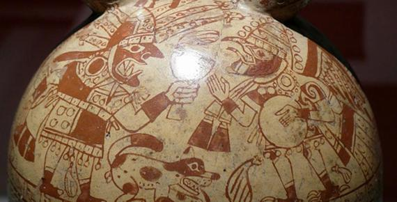Detail of a Moche Sacrifice Ceremony depicted on a bottle.