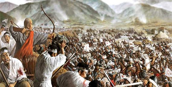Painting depicting the Battle of Cheoin (Korea) between Goryeo and Mongol Empire forces in the Korean peninsula in 1232; Deriv