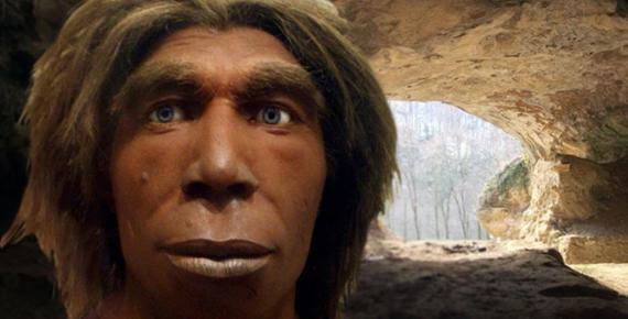 Deriv;Reconstruction of a Neanderthal, Museum für Naturkunde, Berlin, Germany), Vindija cave near Varazdin in Croatia