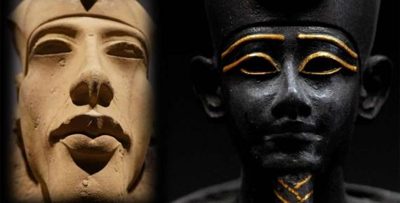 Akhenaten pic compliments of Jo from her trip. Osiris is a bronze/gold statue of the god, Louvre (Rama / CC BY-SA 3.0) (author created).
