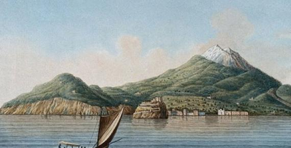 The island of Ischia seen from the sea, showing volcanic features. Colored etching by Pietro Fabris, (1776). (Wellcome Images/ Public Domain)