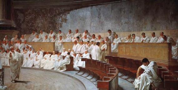 Cicero Denounces Catiline  by Cesare Maccari  (1888) (Public Domain)