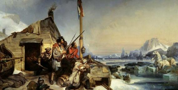 Wintering of a team of Dutch sailors on the eastern coast of Novaya Zemlya by Eugène Lepoittevin (1839) Musée départemental de l'Oise. (Public Domain)