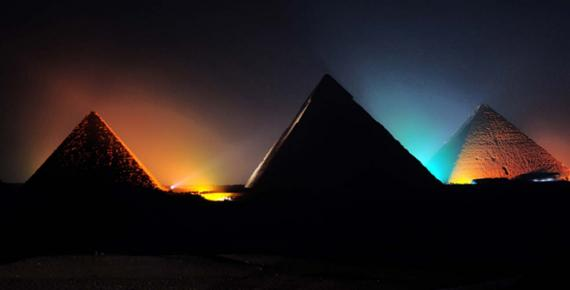 Pyramids of Giza at Night.