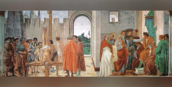 Dispute of Saint Peter with Simon Mago in front of the emperor, from the frescoes in the Brancacci chapel by Filippino Lippi (1481-1482) (Public Domain)