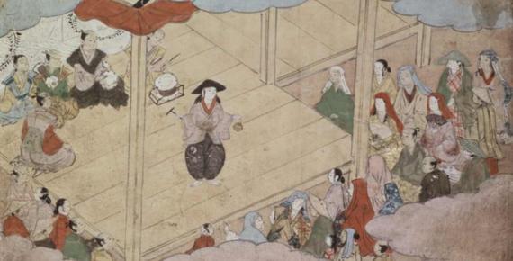 12th page of Kunijo Kabuki Ekotoba showing Izumo no Okuni, the founder of kabuki theatre, on stage. Edo Period, Keichō era (1596—1615) (Public Domain)