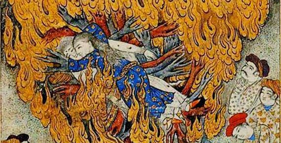 Detail of 17th century illustration of a woman committing suttee: self-immolation on her husband's funeral pyre.