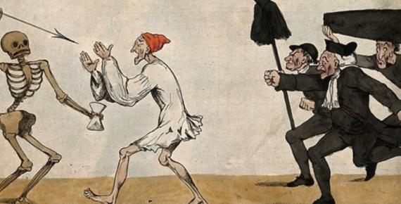 A man with closed eyes walking into a skeletal death figure, a group of anxious undertakers run after them. Coloured etching by R. Newton, 1794, after himself. (Wellcome Images / CC BY-SA 4.0)
