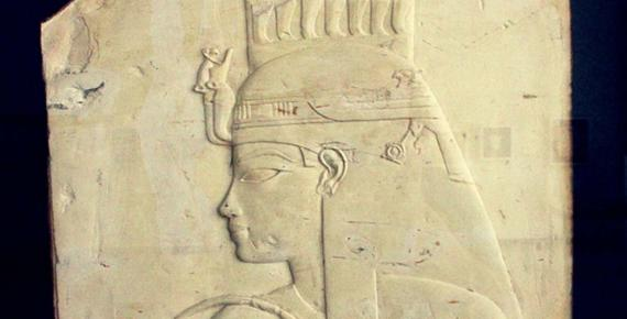 A relief originally from the tomb of Userhat (TT47) at Thebes depicts Queen Tiye. Brussels Royal Museum.