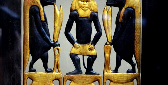 Detail from the richly decorated wooden chair or 'throne' of Sitamun, daughter and later wife of Amenhotep III, which was found in KV46. The image shows richly gilded images of Bes and two Tawaret figures; design by Anand Balaji (Photo credit: Heidi Kontkanen - Egyptian Museum, Cairo); Deriv.