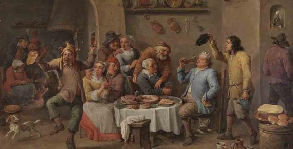Twelfth Night (The King Drinks) by David Teniers (c. 1634-1640) (Public Domain)