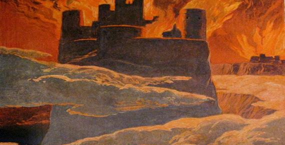 A scene from the last phase of Ragnarök, after Surtr has engulfed the world with fire (by Emil Doepler, 1905)