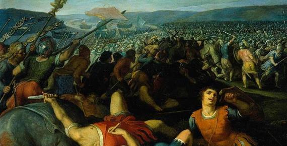Batavians defeating Romans on the Rhine by Otto van Veen (1612)