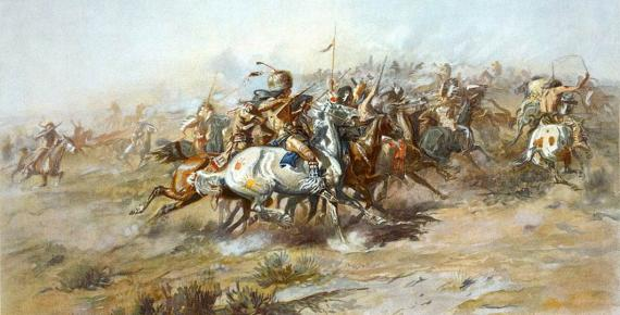 The Battle of Little Bighorn, from the Indian side by Charles Marion Russell (1903) (Public Domain)