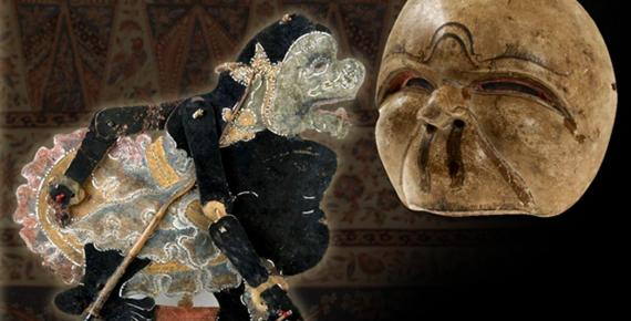 Wayang kulit figure, representing Semar (CC BY-SA 3.0) and Mask of Semar for traditional Javanese theater performance (CC BY-SA 3.0), and sarong from Java, c. 1880.