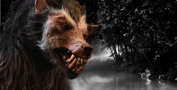 Werewolf costume and natural landscape