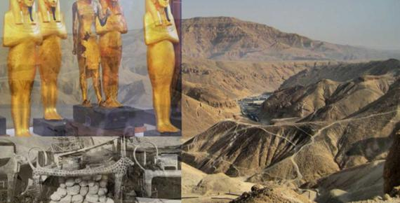This collage shows the Valley of the Kings, statuettes of funerary deities and the Antechamber of the tomb of Tutankhamun.