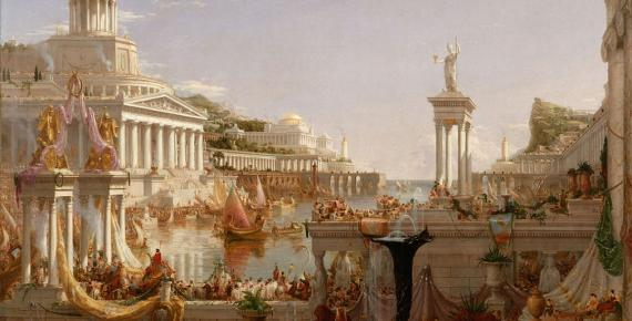 "Roman citizens enjoyed many privileges. ""The Consummation The Course of the Empire"" by  Cole Thomas (1836)"