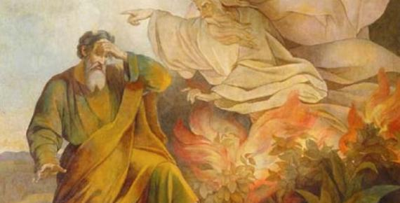 God Appears to Moses in Burning Bush by Eugène Pluchart (1848). Saint Isaac's Cathedral, Saint Petersburg. (Public Domain)