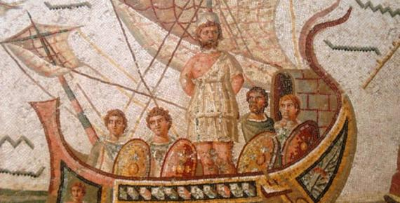 Odysseus mosaic at the Bardo Museum in Tunis, Tunisia. (2nd century AD) (Public Domain)