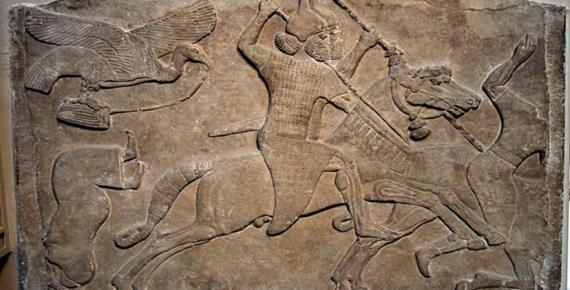 Assyrian relief of a horseman from Nimrud, now in the British Museum.