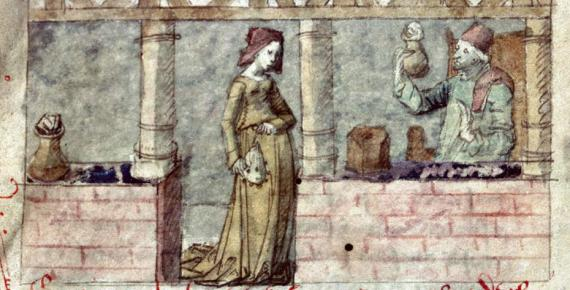 A woman seeks healing compounds at a French apothecary, 15th century illustration.