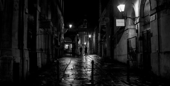 The dark streets of Bristol, England. When darkness descended on Mischief Night, children traditionally got up to no good.