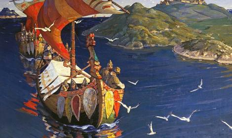 Guests from Overseas (1901) by Nicholas Roerich, depicting a Viking raid. Tretyakov Gallery, Moscow. (Public Domain)