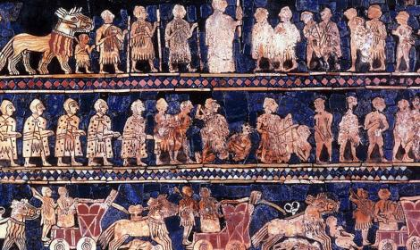 The Standard of Ur mosaic, from the royal tombs of Ur, is made of red limestone, bitumen, lapis lazuli, and shell. The