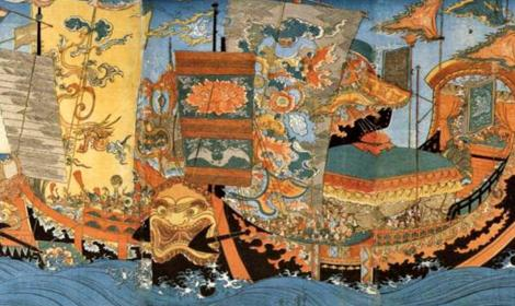 A 19th century ukiyo-e by Kuniyoshi depicting the ships of the great sea expedition sent around 219 BC by the first Chinese Emperor, Qin Shi Huang, to find the legendary home of the immortals, the Mount Penglai, and retrieve the elixir of immortality. (Public Domain)