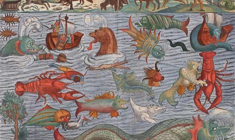 Plate ca. 1544 depicting various sea monsters; compiled from the Carta marina. (Public Domain)