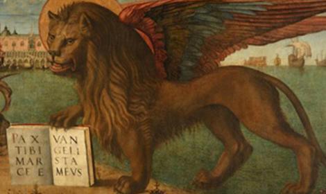 Mark the Evangelist's symbol is the winged lion, the Lion of Saint Mark. Inscription: PAX TIBI MARCE EVANGELISTA MEVS (