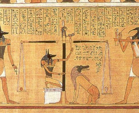 The Papyrus of Hunefer fated to 1375 BC shows Hunefer's heart being weighed on the scale of Ma'at by the jackal-headed Anubis. The scribe of the gods, the ibis-headed Thoth, records the results and if the heart is lighter than the feather, Hunefer is allowed to pass into the afterlife. If not, he is eaten by the awaiting Ammit (soul eater). (Public Domain).